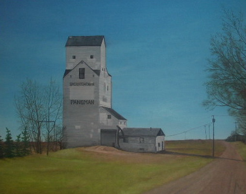Painting of the Pangman Elevator by Barry Webster from Oyama BC